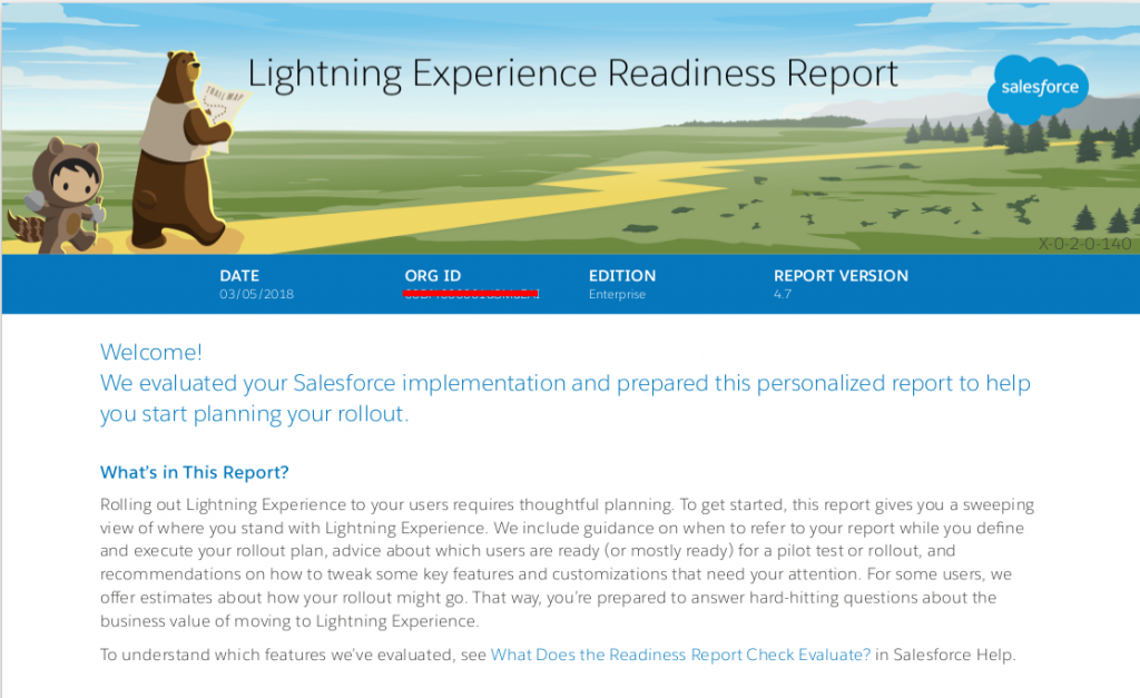 Lightning Experience Readiness Report