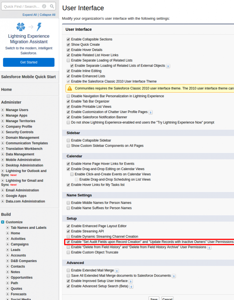Salesforce updating audit fields