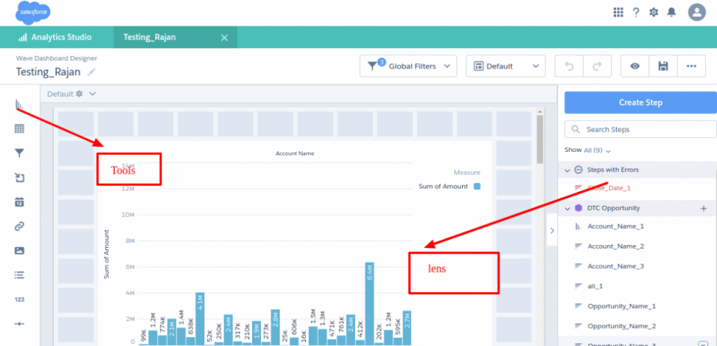 Steps to create a Dashboard - Datasets - Lens in Salesforce Einstein