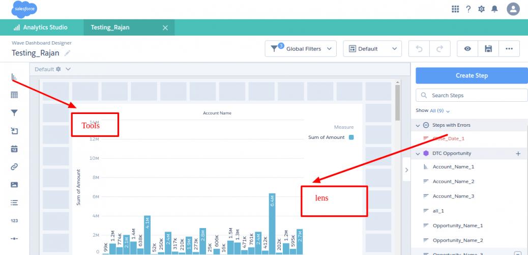 Steps to create a Dashboard - Datasets - Lens in Salesforce Einstein