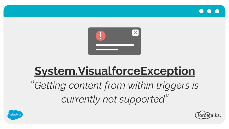 SystemVisualforceException - Getting content from within triggers is currently not supported