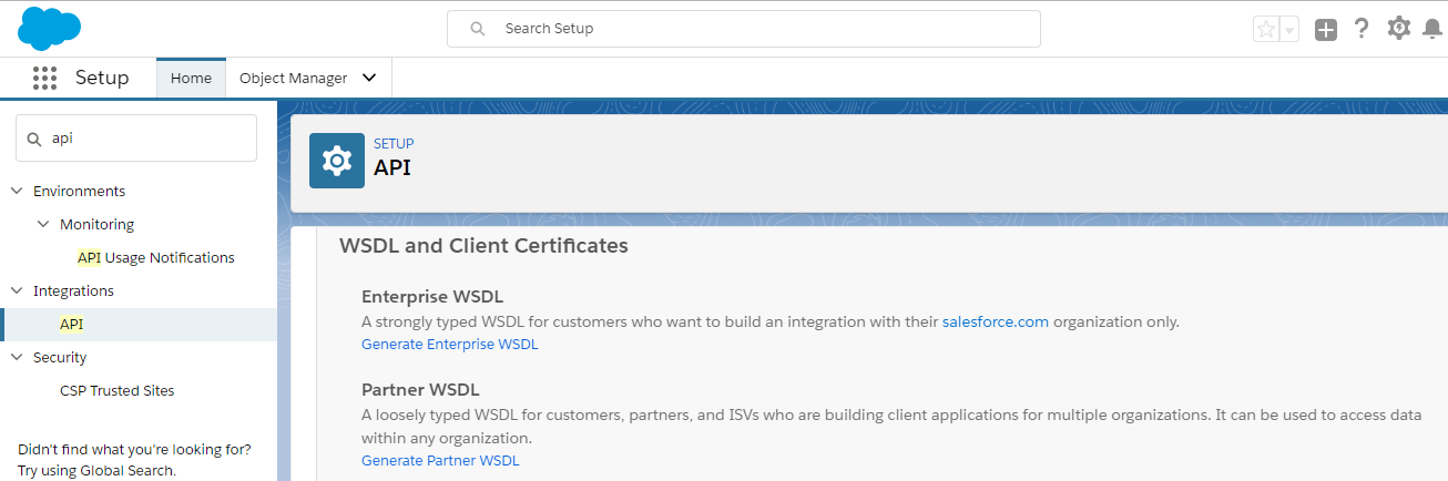 Navigating to strongEnterprise WSDL/strong from Salesforce