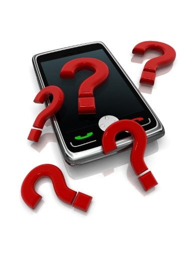 Mobile phone with question mark around it.