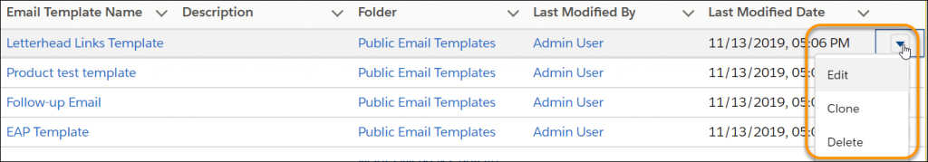 Managing Email Template Dashboard