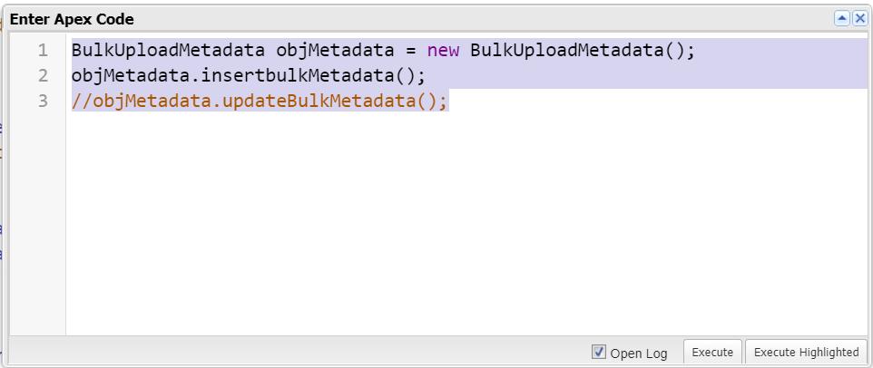 Insert Bulk Metadata