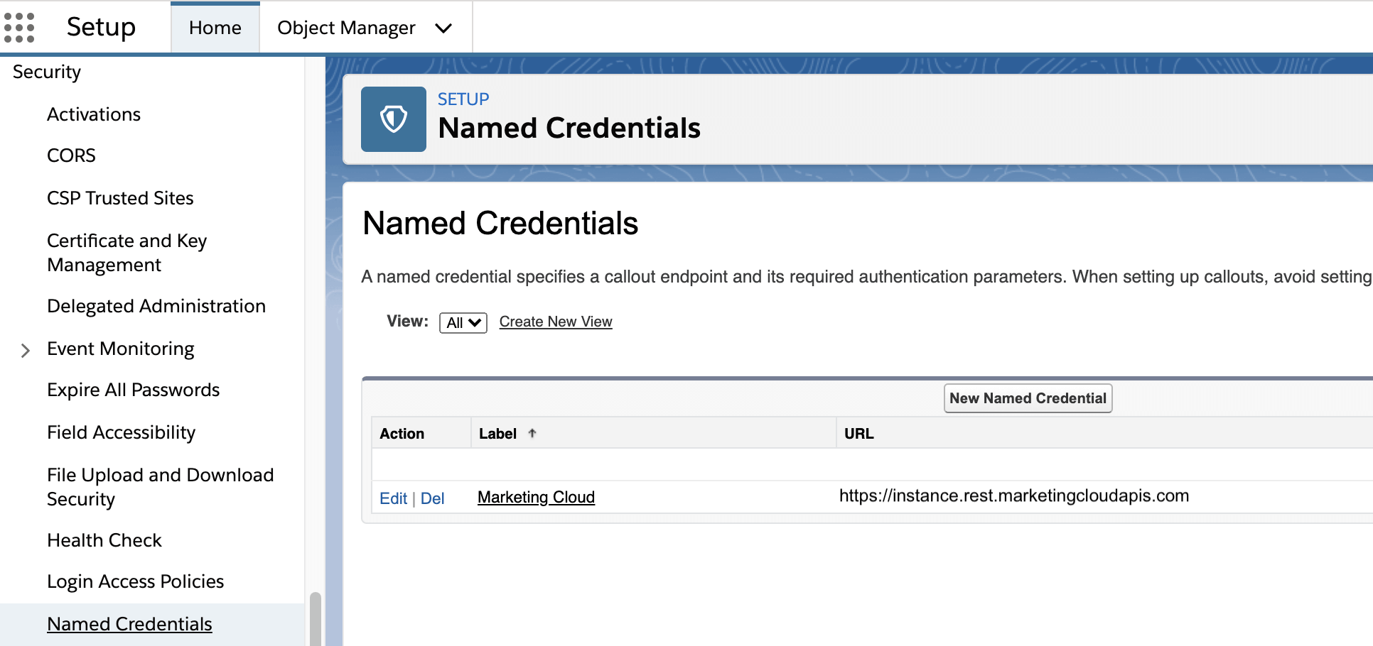 named credentials